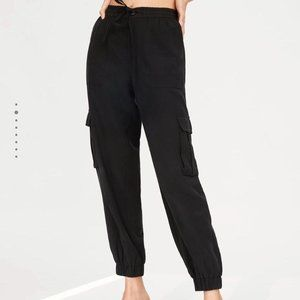 Zara Pocket Cargo Pants Joggers Black Drawstring
